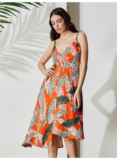 Vekem-Limited Edition Askılı Çiçek Desenli Elbise Oranj